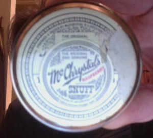 "My tin of ""snuff"""